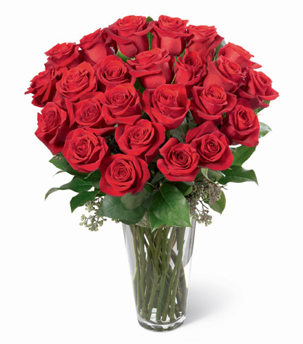 Photo of flowers: Long Stem Roses in Vase 12, 18, 24 or 36.