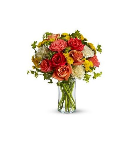 Photo of flowers: Citrus Kissed Roses Vased