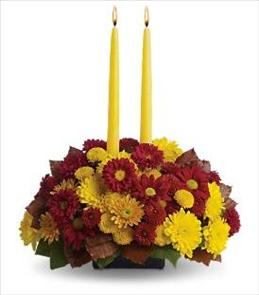 Photo of Harvest Happiness Floral Centerpiece with 2 candles. - T168-2