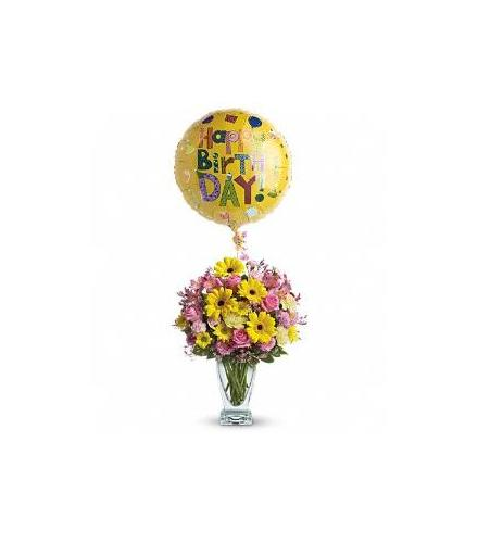 Photo of flowers: Dazzling Day Bouquet with Birthday Helium Balloon