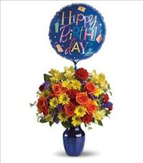 Photo of Fly Away Birthday Flowers and Balloon - T24-1