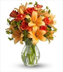 Photo of Fiery Lily and Rose In Vase - T47-2