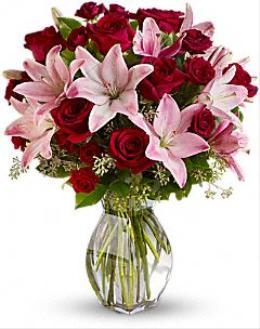 BF6403/T5-1 - Lavish Love Red Roses and Pink Lilies Vased