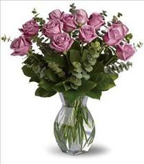 Photo of Lavender Wishes Roses Vased  - T68-1