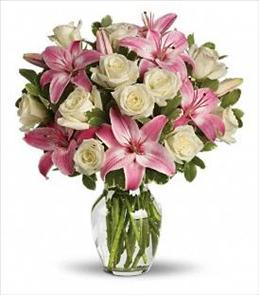 Photo of Always a Lady White Roses Pink Lilies in Vase  - T8-1