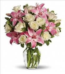 Photo of flowers: Always a Lady White Roses Pink Lilies in Vase