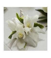 Photo of The FTD White Mini Cymbidium Boutonniere - W7-4628