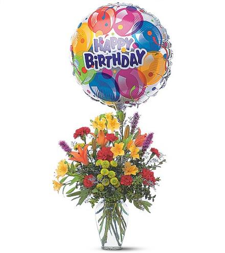 Birthday Flowers And Balloon Bouquet Helium Balloons