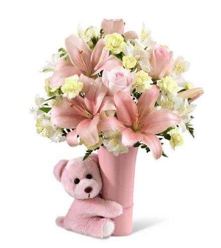 Pink Big Hug With Vase And Teddy Bear New Baby Catalog Order
